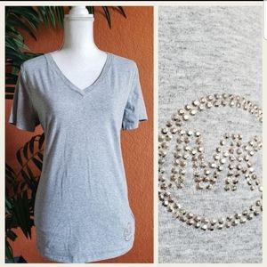 3/$25 Michael Kors Heather Gray Bling Logo Tee X